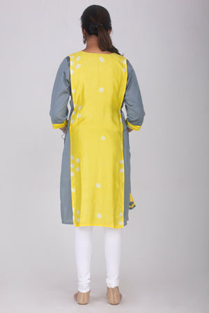 Grey Cotton Kameez with Overlay