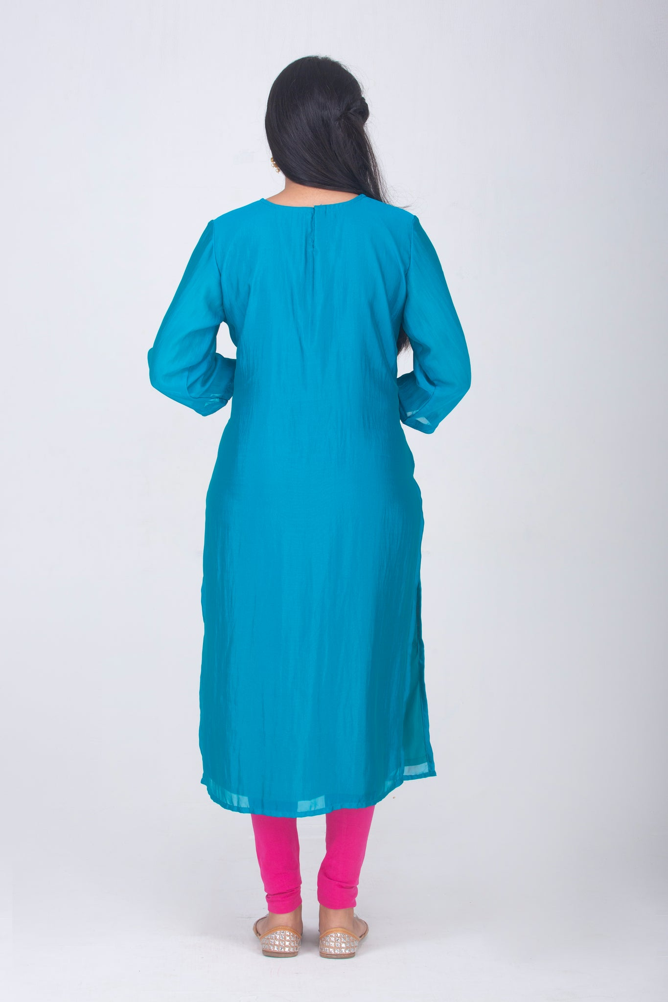 Teal Chinon Kameez