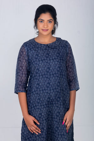Dark Blue Printed Linen Kameez
