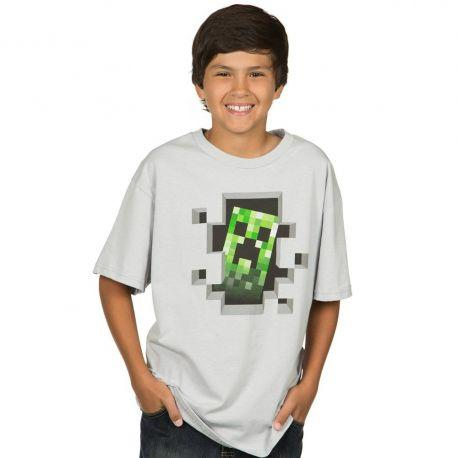 T-shirt Gris Creeper Inside Enfant Minecraft - - Boutique Top Tendance