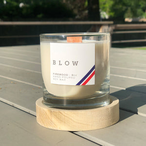 Firewood Scented Candle with Wooden Base