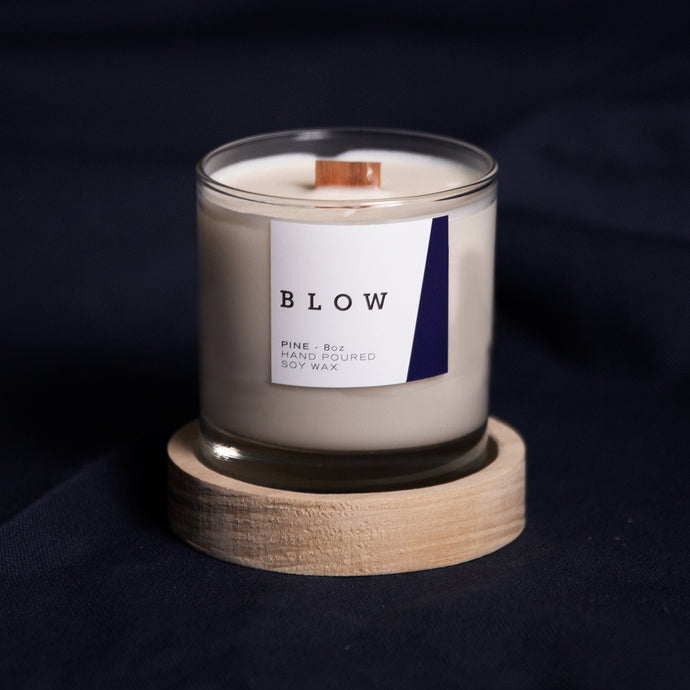 Pine Scented Candle with Wooden Base