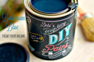 All natural clay paint with 5 times the pigment of other brands. Bohemian Blue is thick like a chalk type paint with great coverage