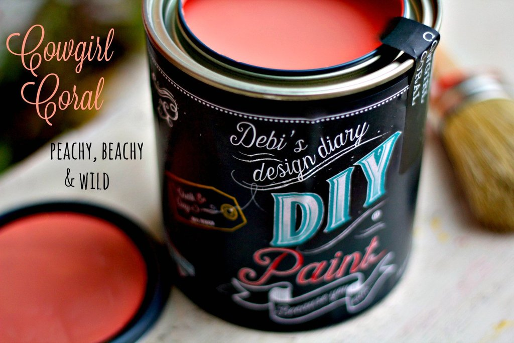 All natural clay paint with 5 times the pigment of other brands. Cowgirl Coral is thick like a chalk type paint with great coverage