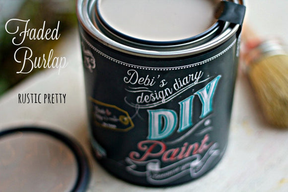 All natural clay paint with 5 times the pigment of other brands. Faded Burlap is thick like a chalk type paint with great coverage
