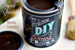 All natural clay paint with 5 times the pigment of other brands. Layered Chocolate is thick like a chalk type paint with great coverage