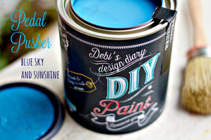 All natural clay paint with 5 times the pigment of other brands. Pedal Pusher is thick like a chalk type paint with great coverage