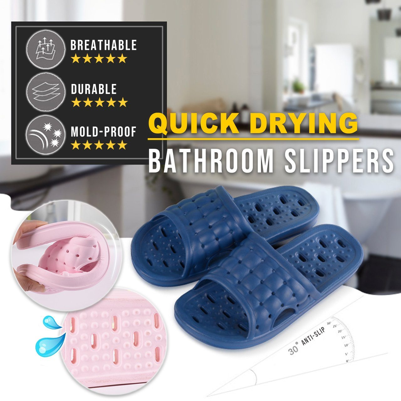 Quick Drying Bathroom Slippers