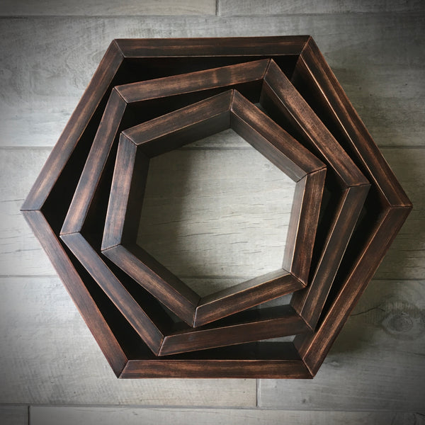 Hexagon Honeycomb Shelves - set of 3. Free Shipping!