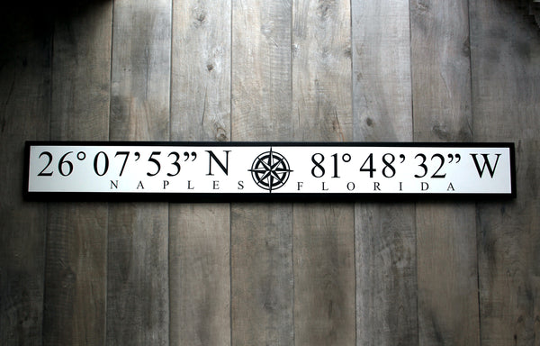 Naples Pier or Custom Coordinates Sign for YOUR favorite spot!