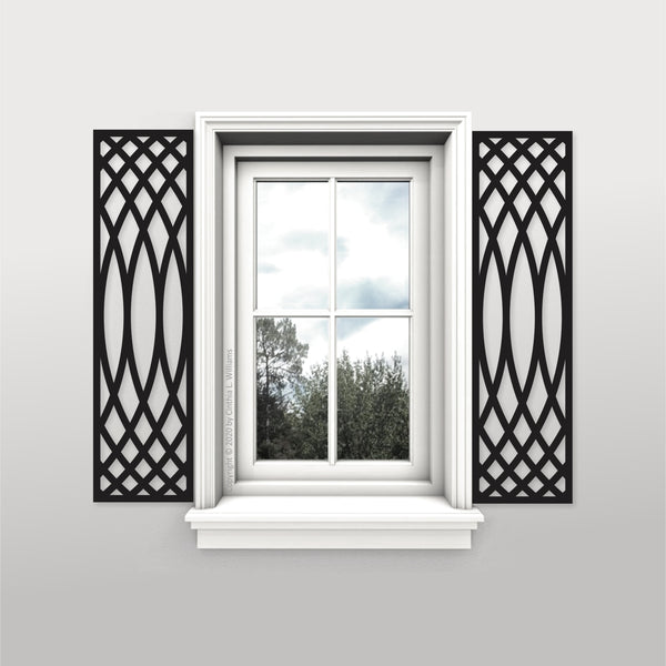 Faux Wrought Iron Decorative Shutters - HALO© pattern (pair)!
