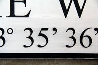 "PERSONALIZED Coordinates Signs 7.25"" x 46"" - FREE SHIPPING"