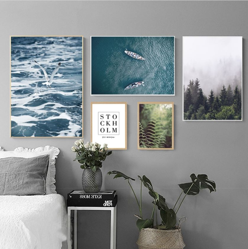 Sea & Forest Landscape Canvas Wall Art