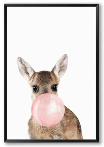 Animals Bubble Gum Canvas Wall Art