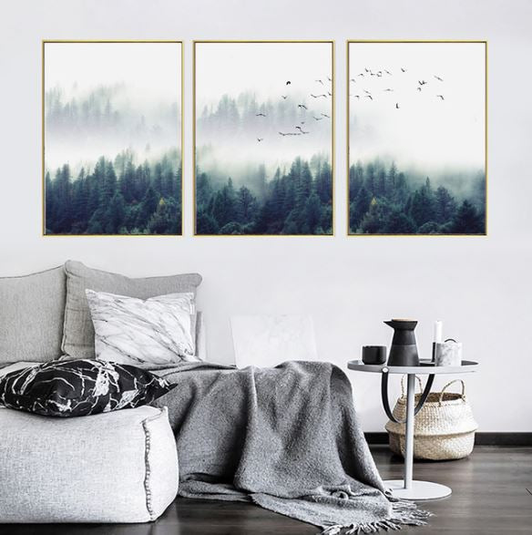 Nordic Forest Lanscape Set of 3 Canvas