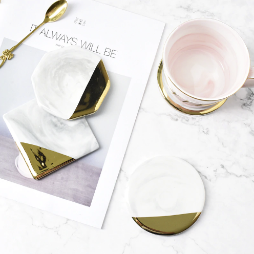 White & Gold Marble Coasters