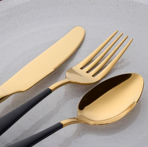 Gold & Black Cutlery Set
