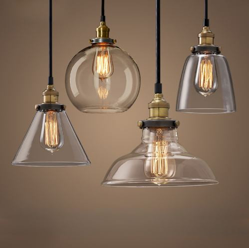 Vintage Pendant Glass Lamp