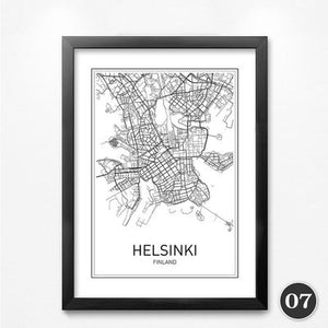 Maps of Worlds Cities Canvas Wall Art