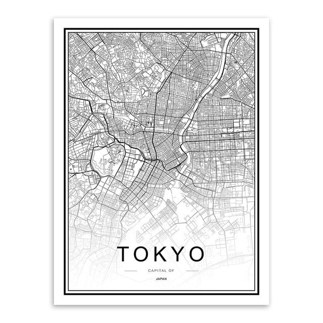 Stylish City Map Canvas Wall Art
