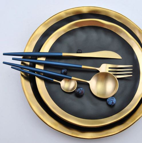 Premium™ - Blue & Gold Cutlery Set