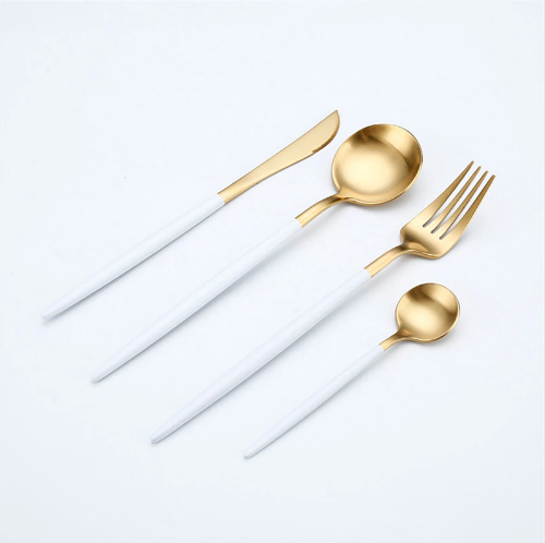 Premium™ - Gold & White Cutlery Set