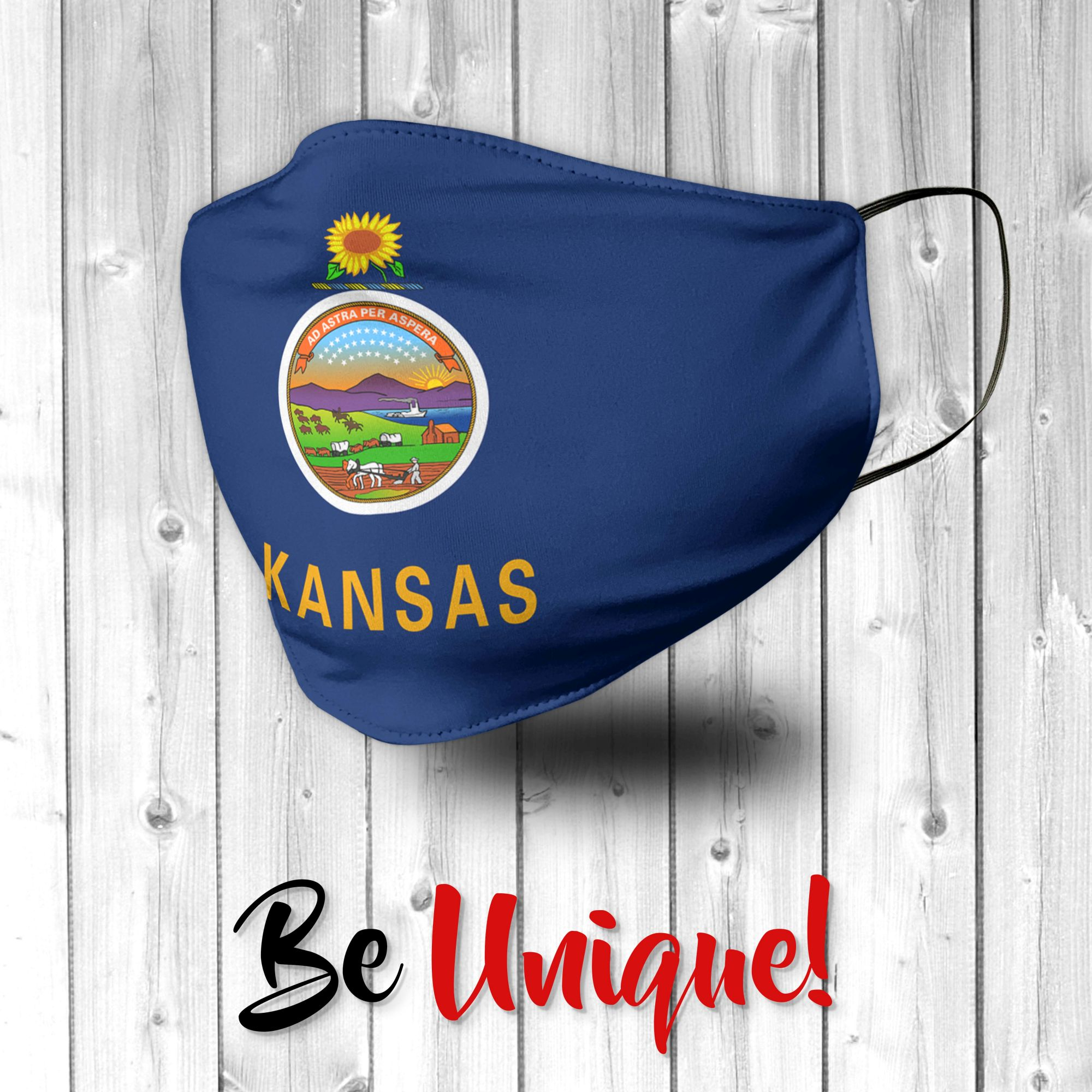 Kansas State Flag USA Face Mask