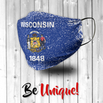 Wisconsin State Flag USA - Distressed Effect