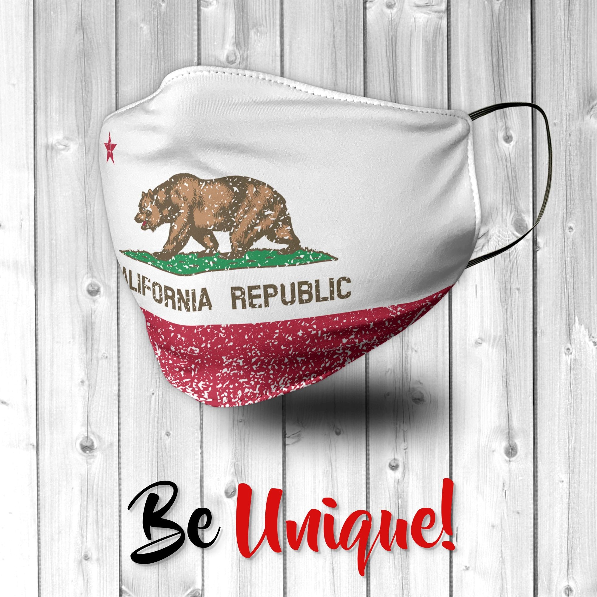 California Flag with Distressed Effect USA Face Mask