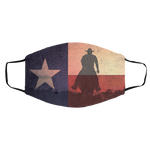 Texas State Flag with Horseman Distressed Effect Face Mask