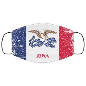 Iowa State Flag USA Distressed Effect Face Mask