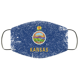 Kansas State Flag USA Distressed Effect Face Mask