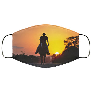 Lone Cowboy Country Sunset Face Mask
