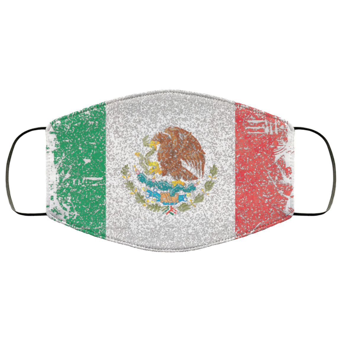 Mexico Mexican Flag Distressed Effect Face Mask
