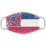 Mississippi State Flag USA Distressed Effect Face Mask