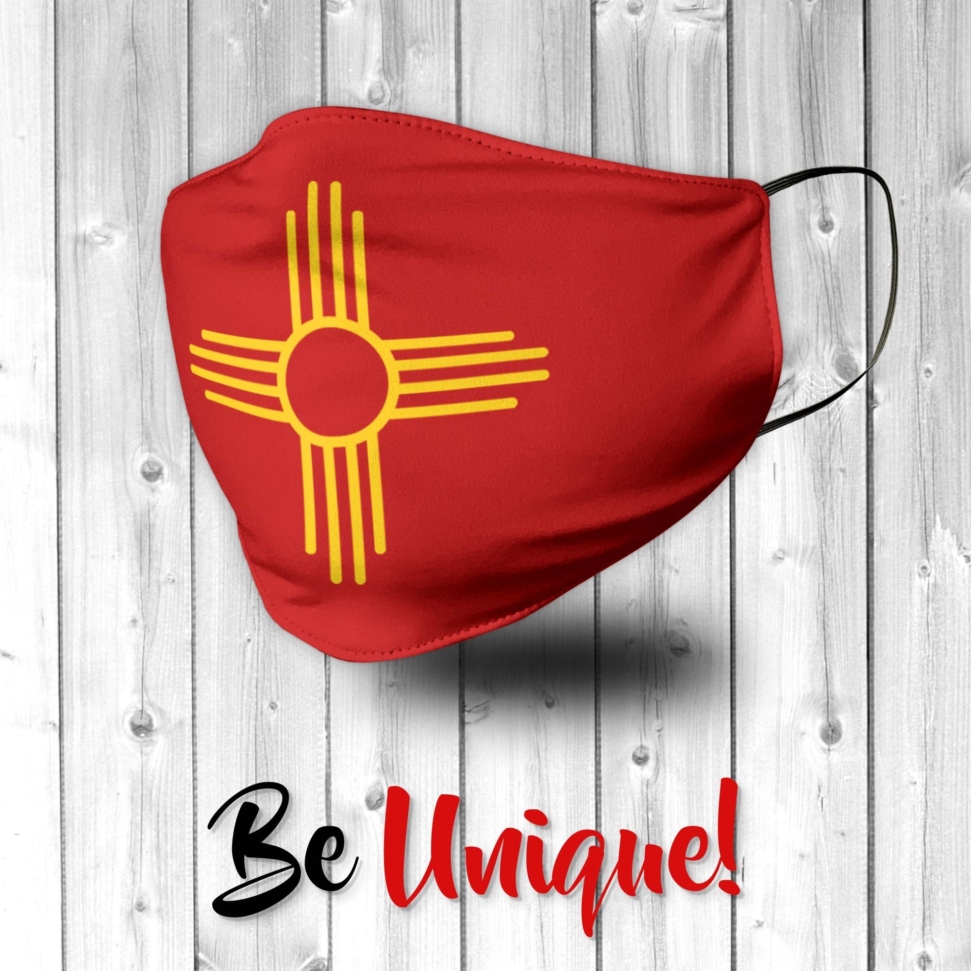 Yellow Zia on Red New Mexico Flag  Face Mask