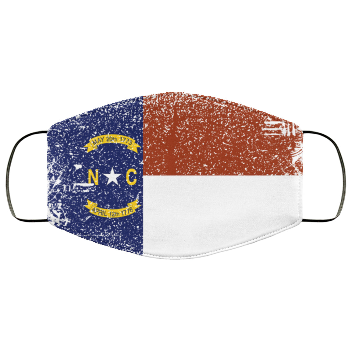 North Carolina State Flag USA Distressed Effect Face Mask