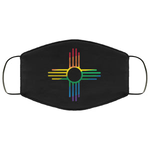 Rainbow Zia on Black New Mexico Flag Face Mask