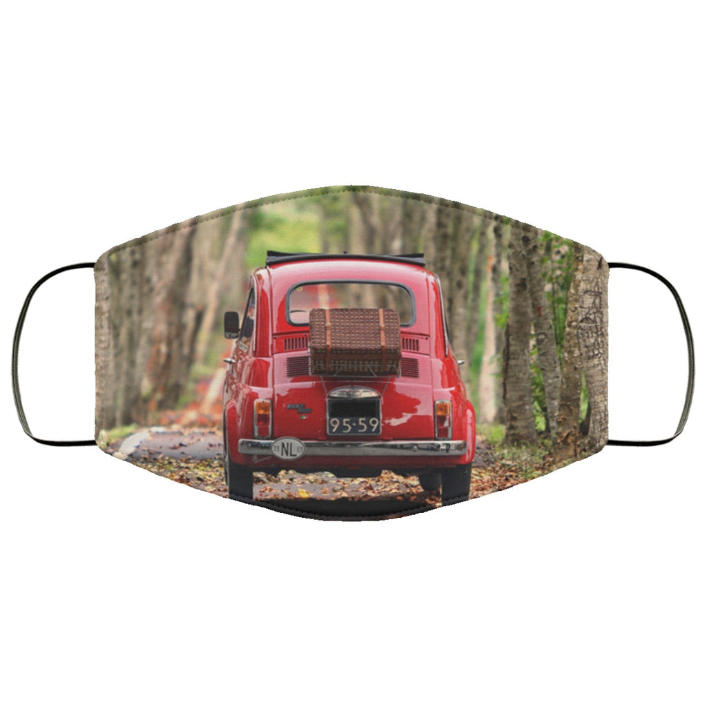 Red Fiat Picnic Classic Car Face Mask