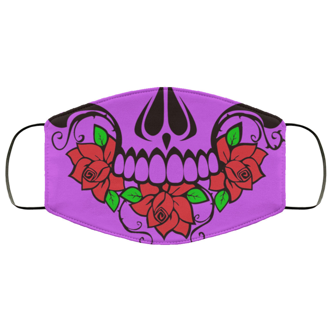 Scary Skull Roses Pretty Cute Colorful Bright Face Mask