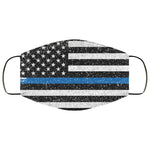 Thin Blue Line Distressed Effect Face Mask