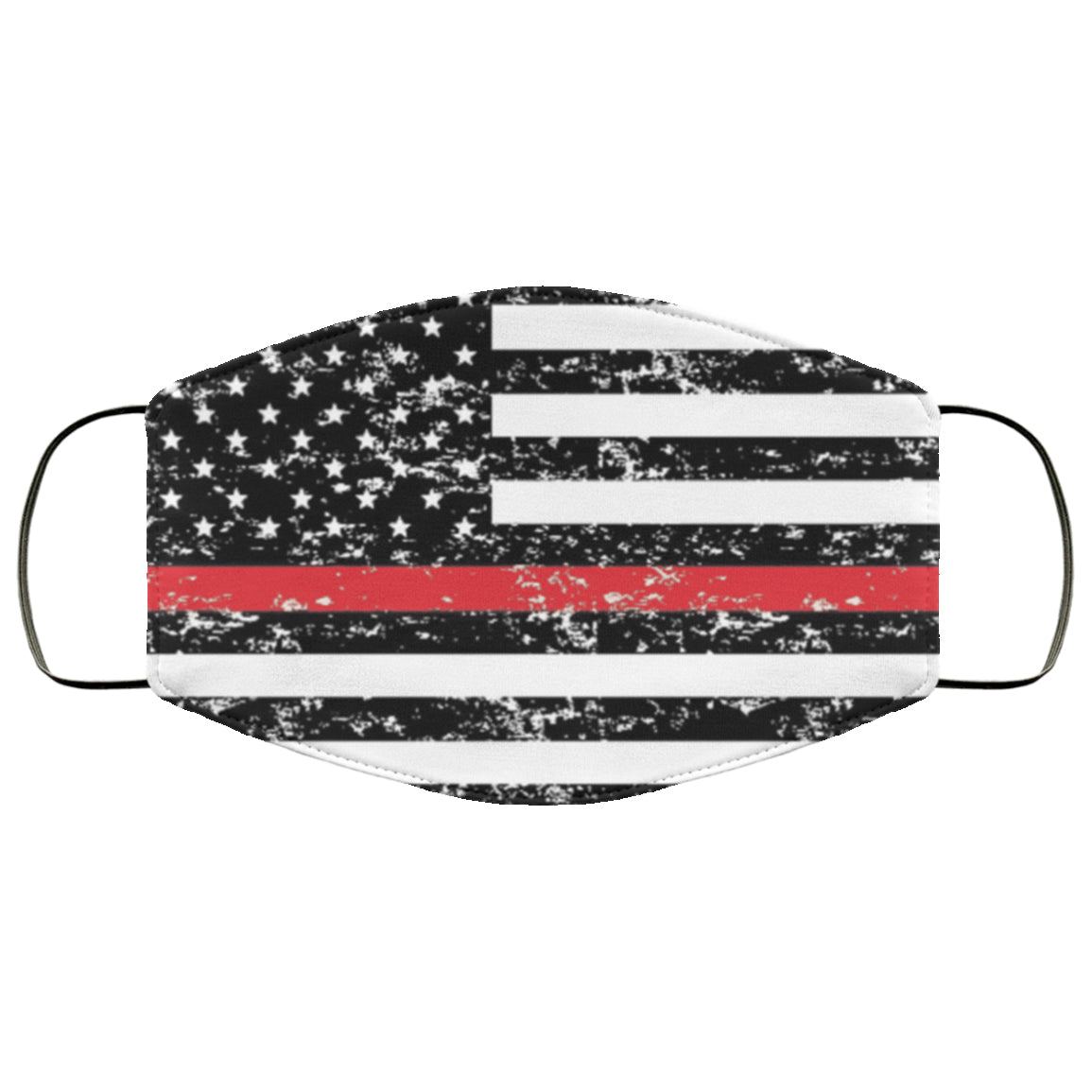 Firefighter Firefighters Thin Red Line Distressed Effect Face Mask