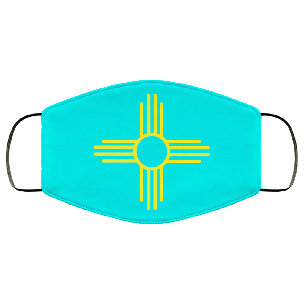 Yellow Zia on Turquoise New Mexico Flag Face Mask