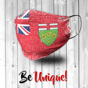 Ontario Canada Flag Distressed Effect Face Mask