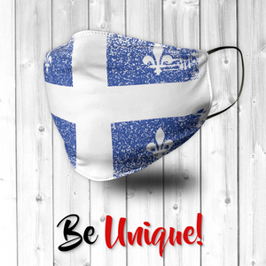 Quebec Flag Canada Distressed Effect Face Mask