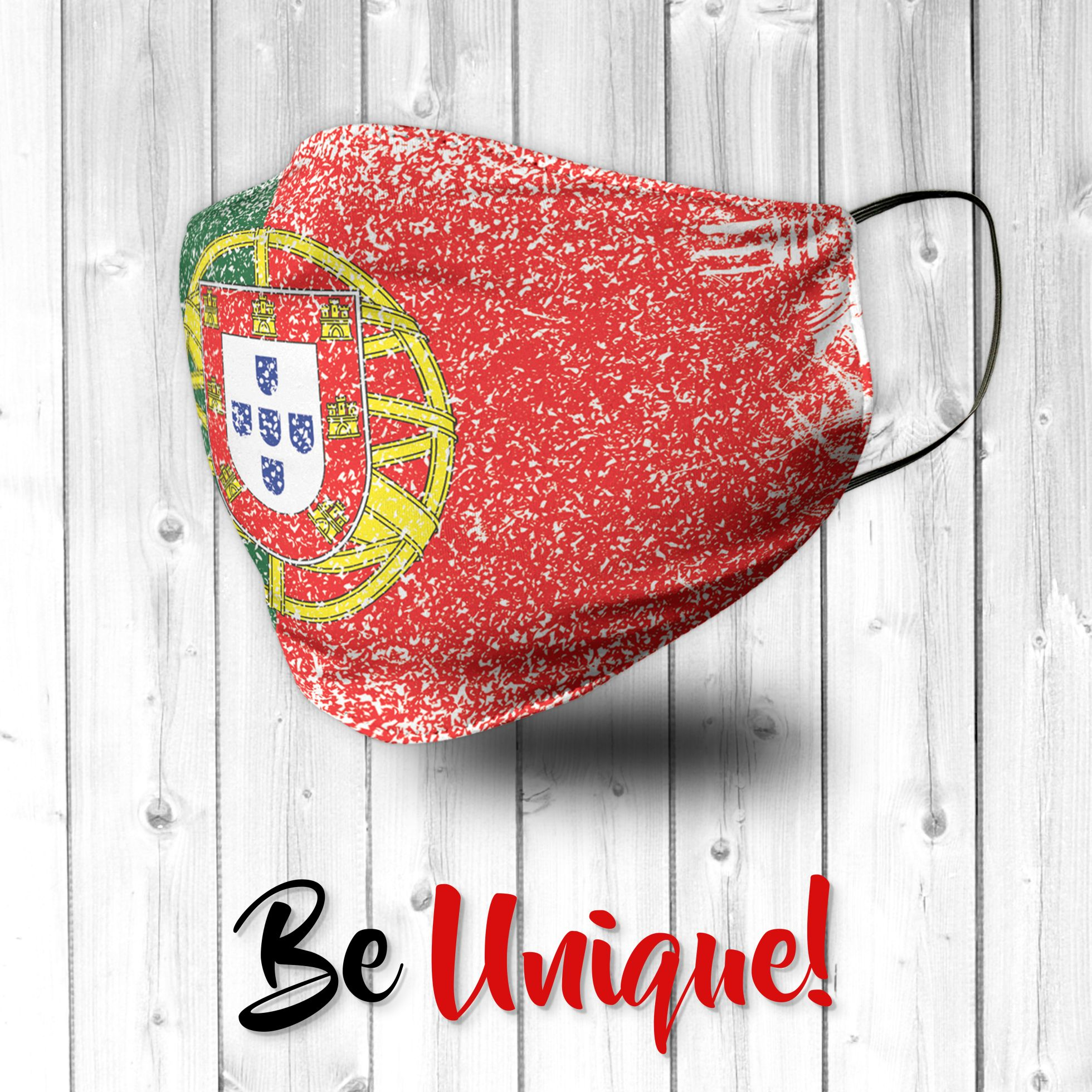 Portugal Portuguese Flag Distressed Effect Face Mask