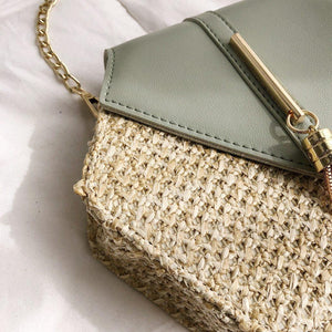 Clover Straw Shoulder Bag-Pordein