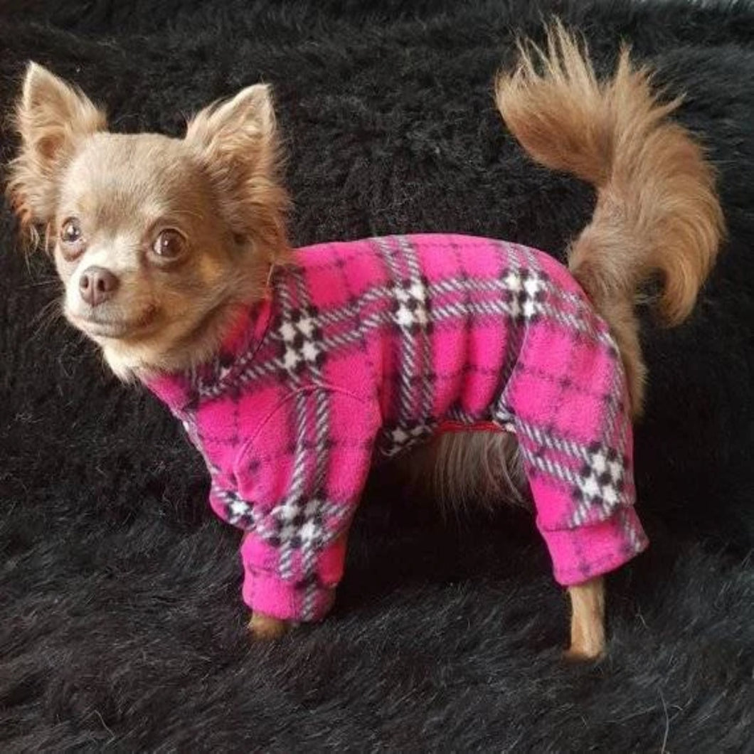 Cute Dog Pajamas Pyjamas in Bright Pink Tartan Plaid Fleece - WaggyBumPetBoutique
