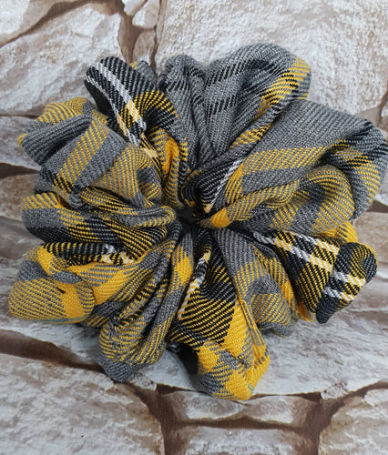 Yellow Autumn Tartan Plaid Hair Scrunchie - WaggyBumPetBoutique