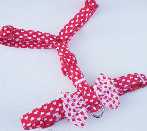 Valentines Day Dog Harness in Red Hearts Design